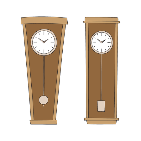 vintage wall: Vecrtor nand drawn antique wall clocks with a pendulum.
