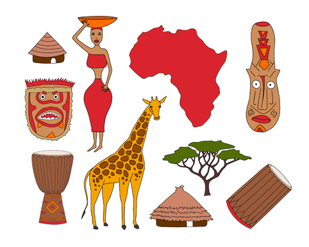 ritual: Hand drawn set of african symbols - bungalows, girl with a bowl, giraffe, ritual mask, map, acacia, music instruments. Travel to africa icons for cards and web pages.