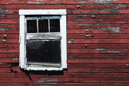 old red barn: White Window in Old Red Barn Stock Photo