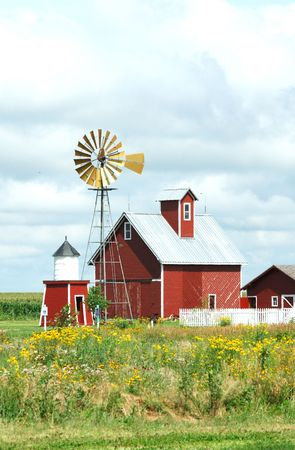 corn flower: Windmill, Barn, and Sheds on a Cloudy Day (Vertical) Stock Photo