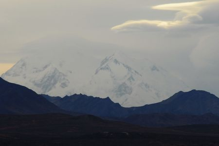 mckinley: Jesus Face in the Shadows on Mt. McKinley at Sunset Stock Photo