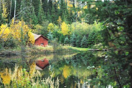 kabine: Red Cabin in the Woods von der See Lizenzfreie Bilder