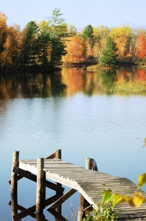 Boat Dock on the Lake in Autumn