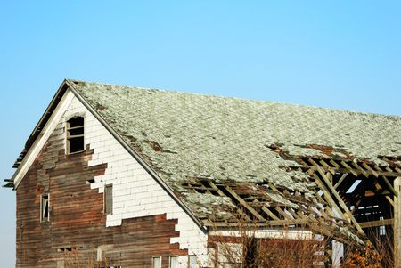 crumbling: Crumbling Roof on Old Building Stock Photo