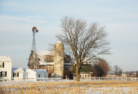 Farm with Windmill in Winter Stock Photo - 4160991