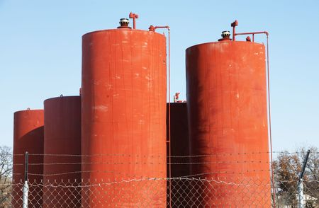 Orange Tanks at Wastewater Treatment Plant photo