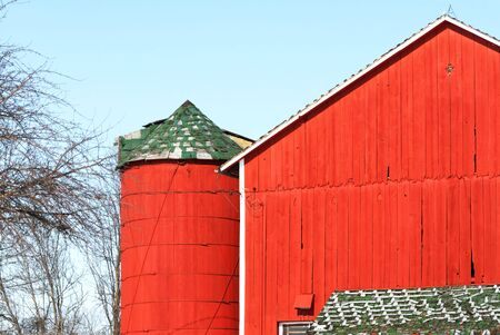 Red Silo and Red Barn Stock Photo - 4314737