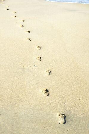 Footprints in the Sand Archivio Fotografico