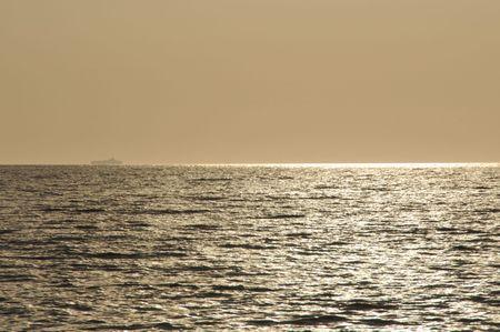 Big Ship on the Horizon of Ocean