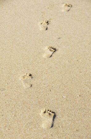 Barefoot Prints in the Sand Stock Photo