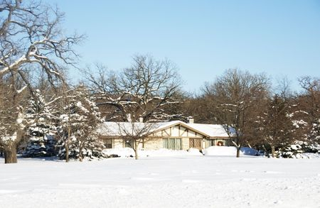 House after Winter Snow Storm photo