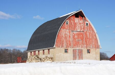 old red barn: Old Red Barn, Blue Sky, and Firewood