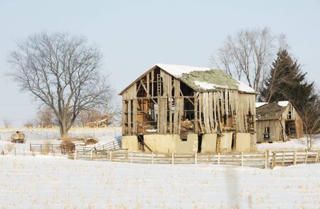 Weathered Old Barn in Winter photo