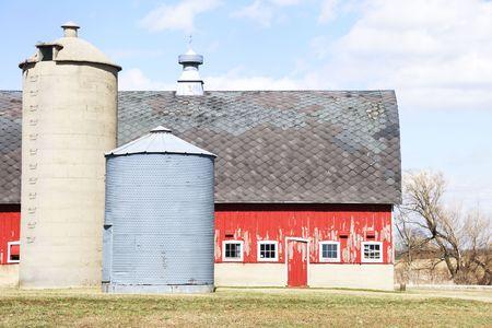 Silo, Grain Bin, and Barn Stock Photo - 4833229