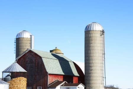Two Silos, Barn, and Moon Stock Photo - 4914532