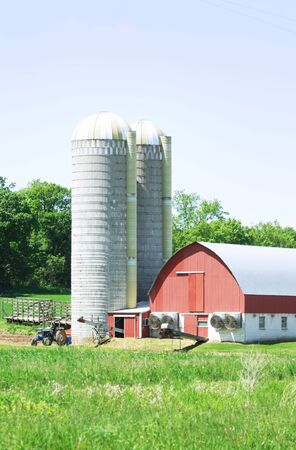 Red Barn and Two Silos