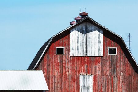 old red barn: Old Red Barn with Three Cupolas and Antenna