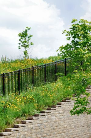 Wrought Iron Fence Up the Hill photo