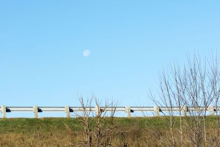 Moon Over Guardrail