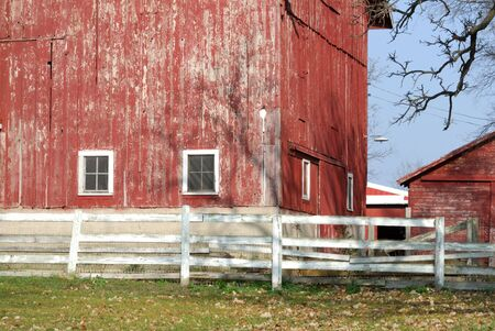 Old Red Barn and White Fence