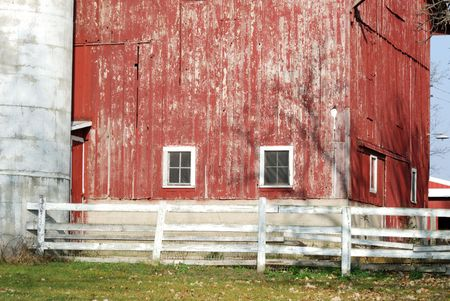 old red barn: Old Red Barn and Silo Stock Photo