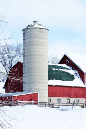 Farm Buildings in the Snow Stock Photo - 7345037