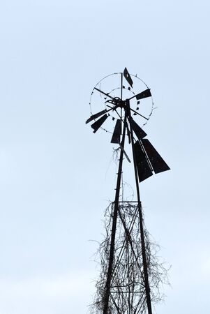 dilapidated: Dilapidated Old Windmill Stock Photo