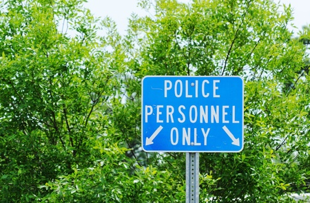 Police Personnel Only Sign Stock Photo