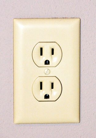 grounded plug: Electrical Outlet Stock Photo