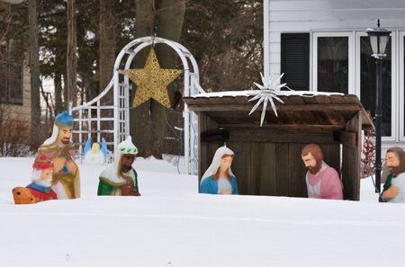 Nativity Scene in Snow Banco de Imagens