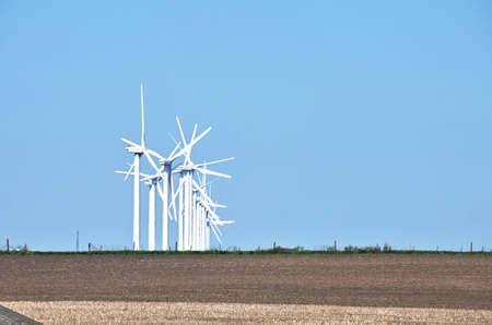 Row of Modern Windmills