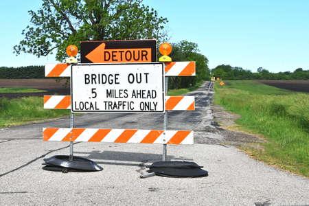 Bridge Out Sign 免版税图像