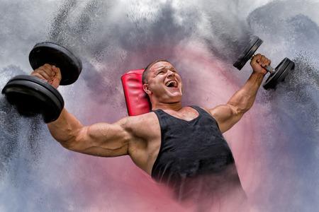 컴포지션 보디 리프팅 아령, 체육관에서 아령 힘, 분해 벤치에 파리 하 고.