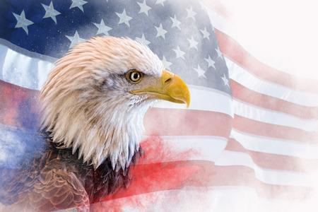 Foto composta: águia careca em primeiro plano com a bandeira americana borrada e desbotada em segundo plano. Névoa vermelha e azul na parte inferior.