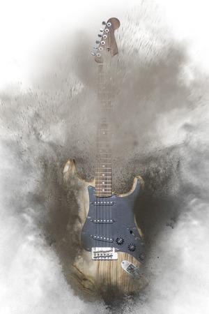 흰색 배경에 빈티지 호두 자연 일렉트릭 기타의 삽화가 합성 사진.