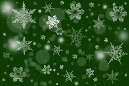 녹색 배경 눈송이와 텍스트를위한 장소 우아한 크리스마스 배경 그림. 휴일을 위해 중대한