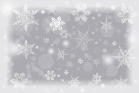 프 로스트처럼 보이는 흰색 비녜 트와 눈송이와 우아한 크리스마스 배경 그림. 휴가 시즌 배경으로 좋습니다. 스톡 콘텐츠