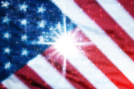 현충일 또는 4 월 7 일에 대 한 오래 된 미국의 국기 배경 전경에서 흰색 별 및 배경에서 플래그를 흐리게. 스톡 콘텐츠