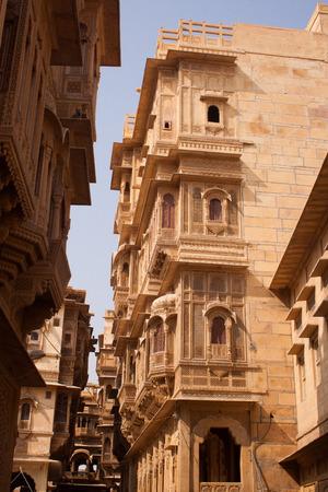 jaisalmer: 29th November 2015, Jaisalmer, Rajasthan, India. Exquisite sandstone craftsmanship in Jaisalmers Havelis Editorial