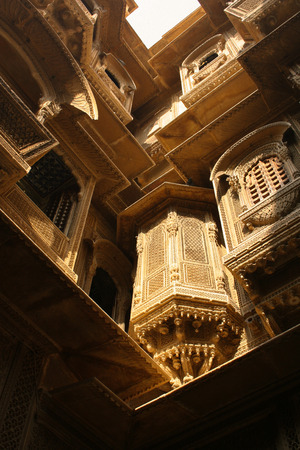 craftsmanship: 29th November 2015, Jaisalmer, Rajasthan, India. Exquisite sandstone craftsmanship in Jaisalmers Havelis Editorial