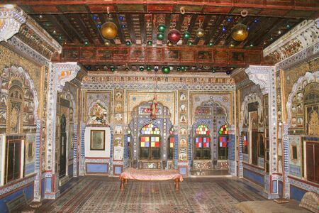 ornately: 30th November 2015, Jodhpur, Rajastan, India. Inside the Mehrangarh Fort ornately decorated room. Exploring the delights the Blue City of Jodhpur has to offer Editorial