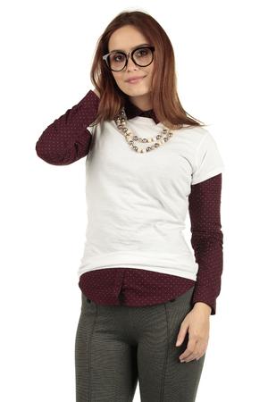 Pretty fashion geek modelling a plain white t-shirt to display your nerd designs