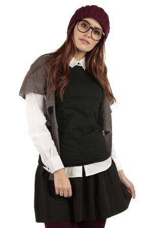 Preppy look girl model with a plain black t shirt for your design