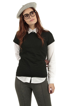 Cheeky and cute female t-shirt model wearing a blank black tee