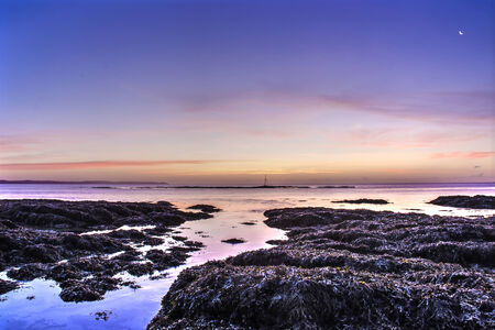 pink and blue sunrise at hannafore point, cornwall, uk Banco de Imagens