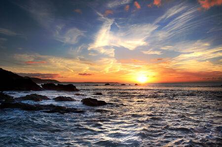 Sunrise at Millendreath, Cornwall, UK Banco de Imagens