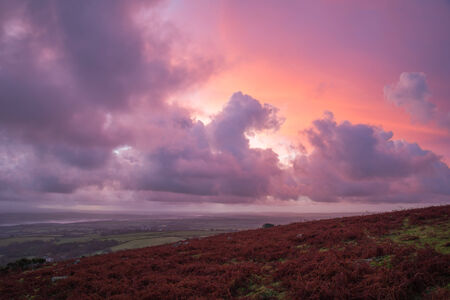 Pink purple orange sunrise at Caradon Hill, Cornwall, UK