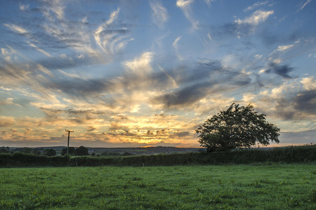 cornish fields at sunset with clouds in sky