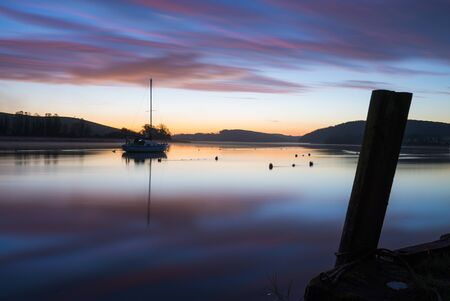 Dreamy sunrise on the river lynher at st germans , cornwall ,uk Banco de Imagens