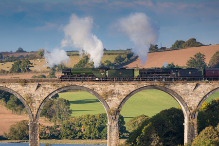 St Germans , Cornwall, UK , 6th October 2018, The Flying Scotsman and Ex BR steam locomotive Stanier Black Five 44871 came to Cornwall crossing the viaduct at St Germans Editorial